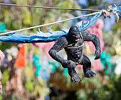 Gorilla toy suspended