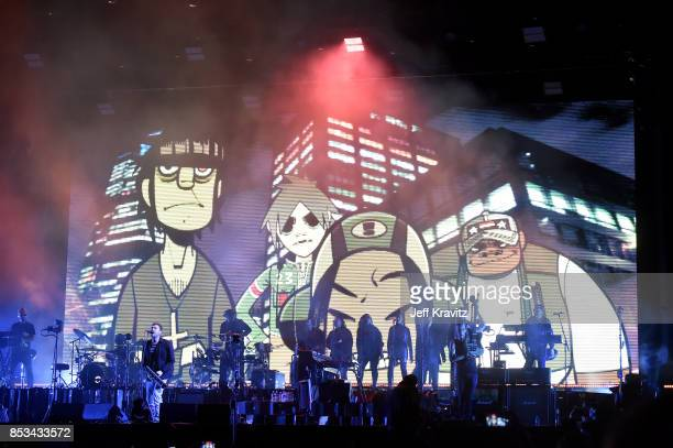 Gorillaz perform on Downtown Stage during day 3 of the 2017 Life Is Beautiful Festival on September 24 2017 in Las Vegas Nevada