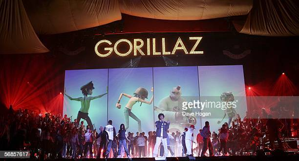 Gorillaz rehearse ahead of The Brit Awards 2006 with MasterCard at Earls Court 1 on February 15 2006 in London England The 26th annual music awards...