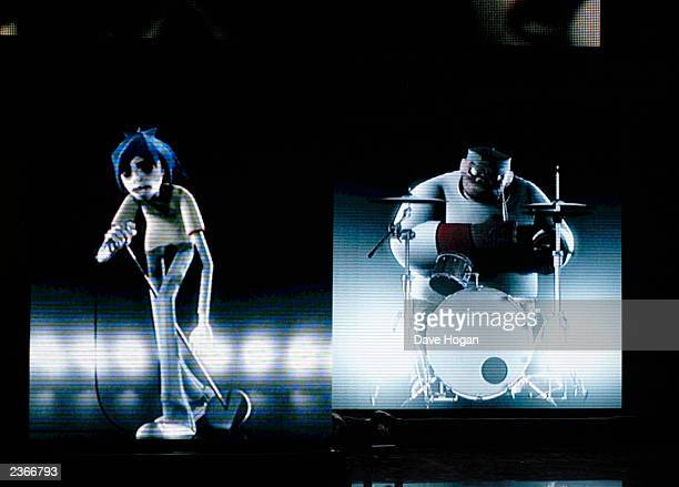 Gorillaz rehearsing for the 2002 Brit Awards in London England 2/20/2002