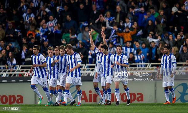 Gorka Elustondo of Real Sociedad celebrates after scoring during the La Liga match between Real Sociedad and Barcelona at Estadio Anoeta on February...