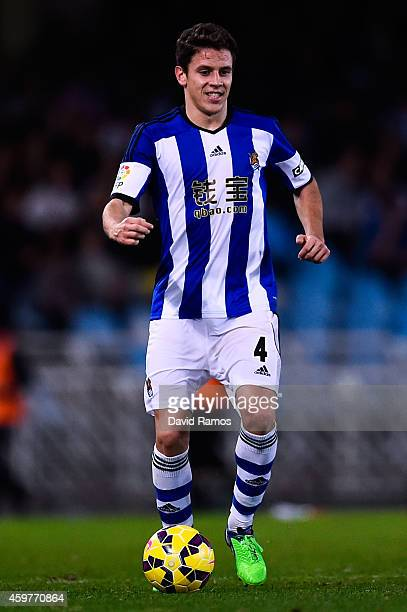 Gorka Elustondo Urkola of Real Sociedad runs with the ball during the La Liga match between Real Socided and Elche FC at Estadio Anoeta on November...