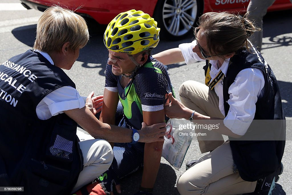 Gorka Izaguirre Insausti of Spain riding for Movistar Team lies on the ground afer crashing during stage seventeen of the 2016 Le Tour de France, a 184.5km stage from Berne to Finhaut-Emosson on July 20, 2016 in Finhaut-Emosson, Switzerland.