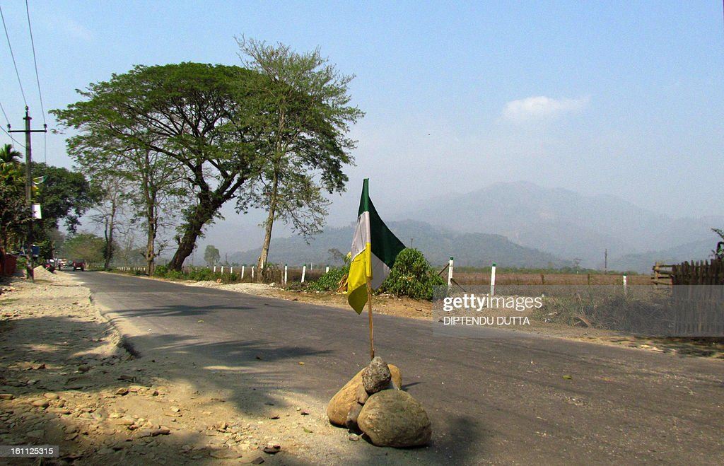 Gorkha People's Liberation Front (GJM) flags are placed on a deserted road in Garidhura village, some 24 kms from Siliguri on February 9, 2013, during a 12-hour strike in Darjeeling, Kalimpong, Mirik and the nearby hills. The GJM is demanding a separate state within India for the Gorkha people in northern West Bengal which affects the tea and tourism industries. AFP PHOTO/Diptendu DUTTA