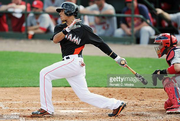 Gorkys Hernandez of the Florida Marlins bats during a spring training game against the St Louis Cardinals at Roger Dean Stadium on February 23 2013...