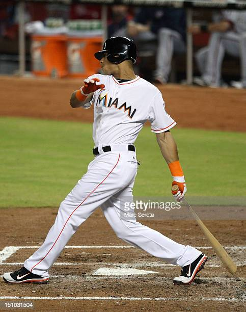 Gorkys Hernandez of the Miami Marlins plays against the Washington Nationals at Marlins Park on August 29 2012 in Miami Florida The Nationals...