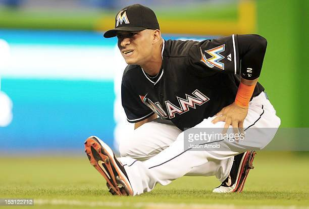 Gorkys Hernandez of the Miami Marlins warms up prior to a game against the Philadelphia Phillies at Marlins Park on September 28 2012 in Miami Florida