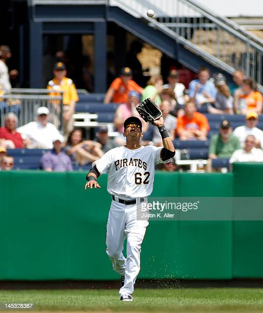 Gorkys Hernandez of the Pittsburgh Pirates plays the field against the New York Mets during the game on May 23 2012 at PNC Park in Pittsburgh...