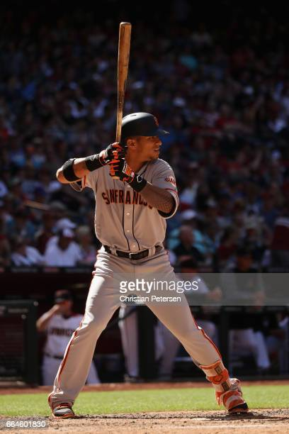 Gorkys Hernandez of the San Francisco Giants bats against the Arizona Diamondbacks during the MLB opening day game at Chase Field on April 2 2017 in...