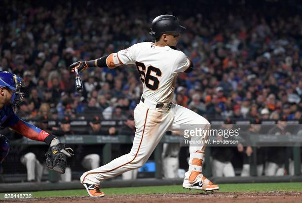 Gorkys Hernandez of the San Francisco Giants bats against the Chicago Cubs in the bottom of the fourth inning at ATT Park on August 8 2017 in San...