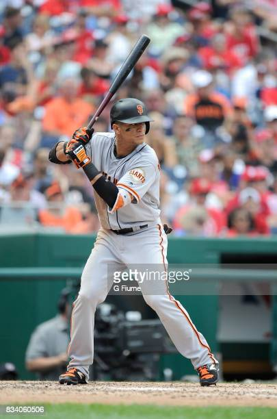Gorkys Hernandez of the San Francisco Giants bats against the Washington Nationals during Game 1 of a doubleheader at Nationals Park on August 13...