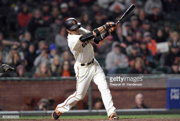 Gorkys Hernandez of the San Francisco Giants bats against the Cleveland Indians in the bottom of the ninth inning at ATT Park on July 18 2017 in San...