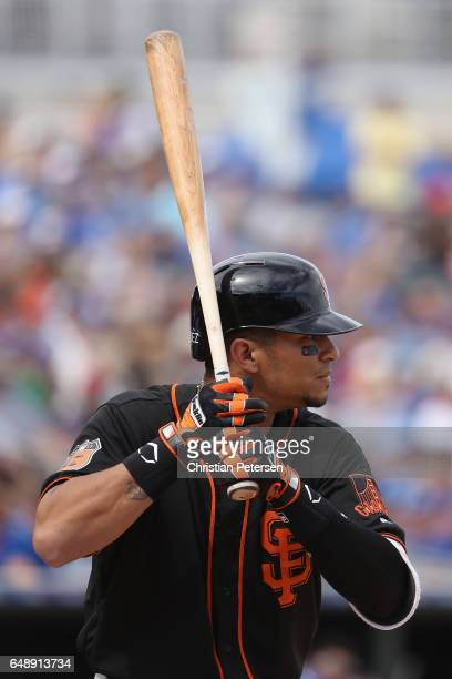 Gorkys Hernandez of the San Francisco Giants bats against the Kansas City Royals during the spring training game at Surprise Stadium on March 4 2017...
