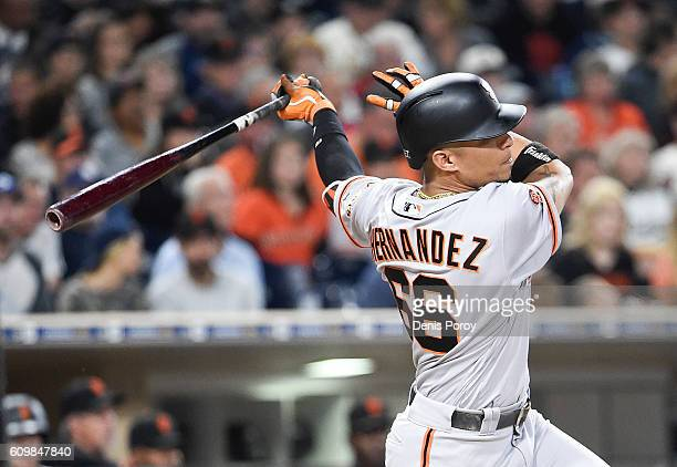 Gorkys Hernandez of the San Francisco Giants hits a double during the fourth inning of a baseball game against the San Diego Padres at PETCO Park on...