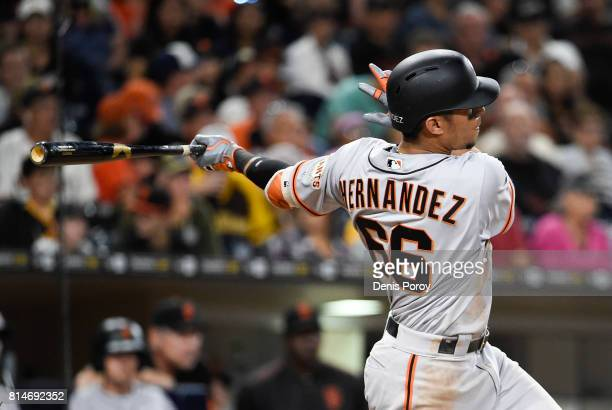 Gorkys Hernandez of the San Francisco Giants hits a double during the eighth inning of a baseball game against the San Diego Padres at PETCO Park on...