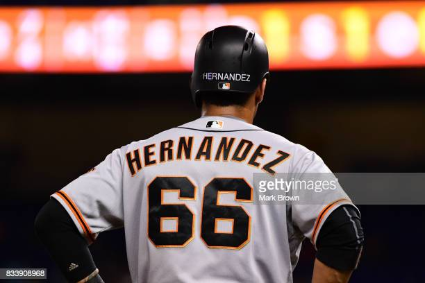 Gorkys Hernandez of the San Francisco Giants in action during the game between the Miami Marlins and the San Francisco Giants at Marlins Park on...