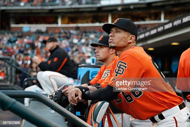 Gorkys Hernandez of the San Francisco Giants looks on before the game against the Atlanta Braves at ATT Park on August 26 2016 in San Francisco...