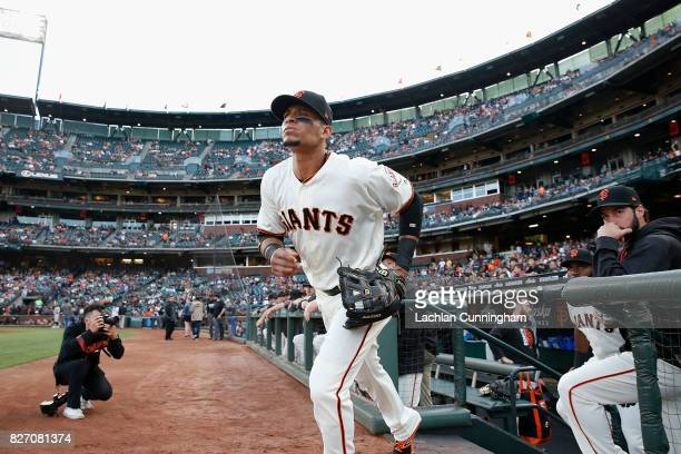 Gorkys Hernandez of the San Francisco Giants runs onto the field for an interleague game against the Oakland Athletics at ATT Park on August 2 2017...