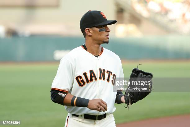 Gorkys Hernandez of the San Francisco Giants walks to the dugout before the interleague game against the Oakland Athletics at ATT Park on August 2...