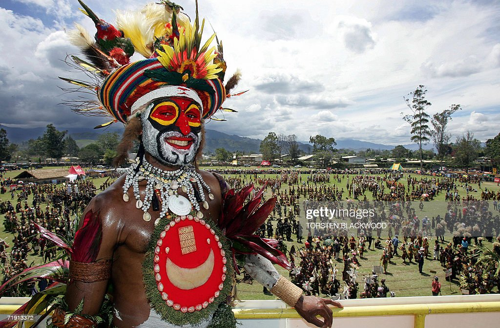 Meleka tribesman Justin Yama from Wingil surveys the thousands of dancers arriving for the 50th Goroka singsing in what is believed to be the largest...