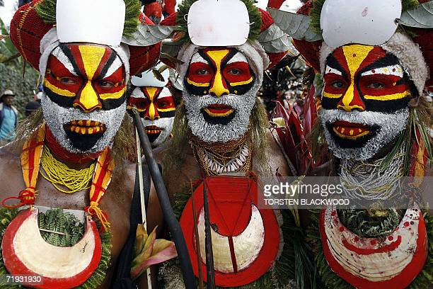 Nebilyer warriors march towards the 50th Goroka singsing in what is believed to be the largest gathering of indigenous tribes in the world 16...