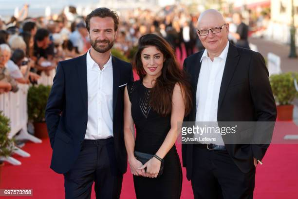 Gorune Aprikian Fanny Valette Amaury De Crayencour attend closing ceremony red carpet of 31st Cabourg Film Festival on June 17 2017 in Cabourg France