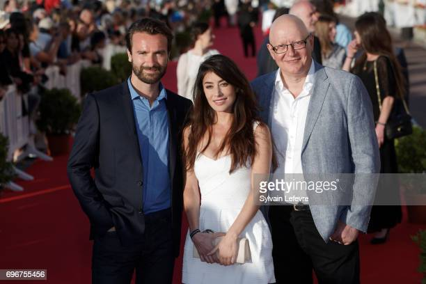 Gorune Aprikian Fanny Valette Amaury De Crayencour attend red carpet of 3rd day of the 31st Cabourg Film Festival on June 16 2017 in Cabourg France