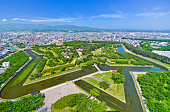 Goryokaku Park, where is a star fort built in 1855 in Hakodate, Hokkaido, Japan.