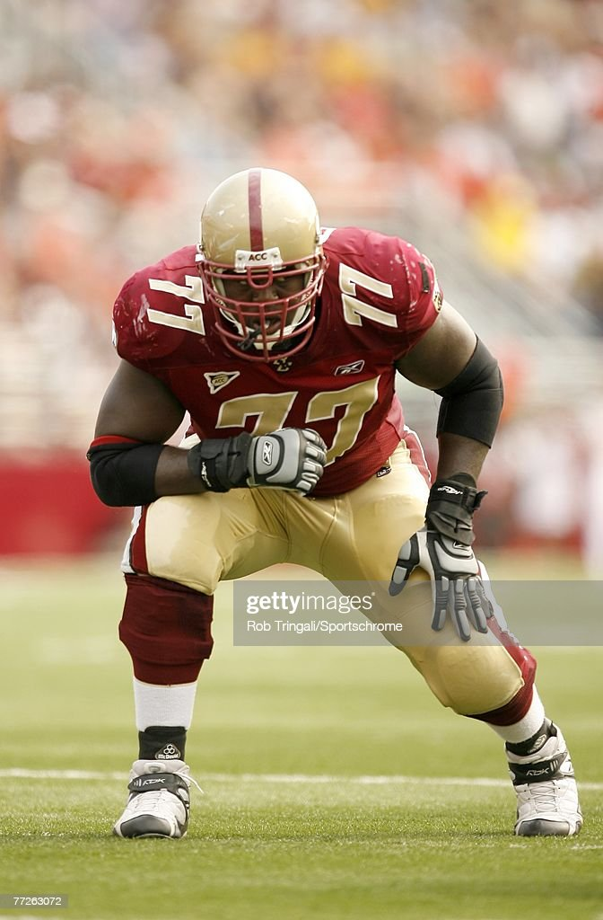 Gosder Cherilus of the Boston College Eagles blocks against the Bowling Green Falcons on October 6 2007 at Alumni Stadium in Chestnut Hill...