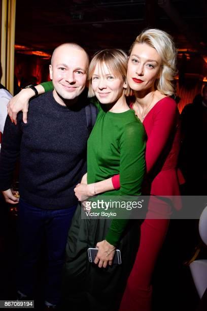 Gosha Rubchinskiy Vika Gazinskaya and Anastassia Khozissova attend TSUM 110th Anniversary Celebration Party on October 26 2017 in Moscow Russia