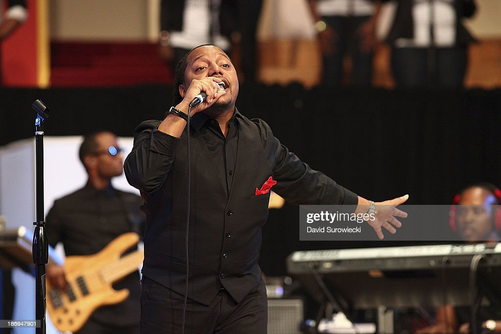Gospel artist Deon Kipping performs at The First Cathedral during a live recording of JJ Hairston & Youthful Praise's seventh album 'I See Victory' on November 4, 2013 in Bloomfield, Connecticut.