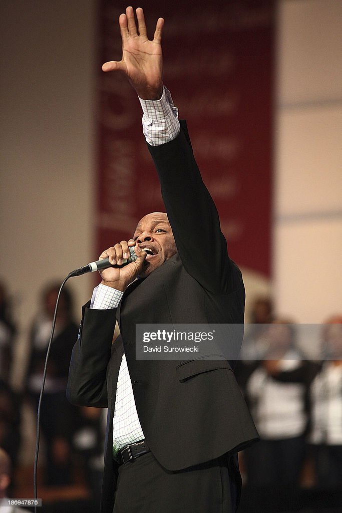 Gospel artist Donnie McClurkin performs at The First Cathedral during a live recording of JJ Hairston & Youthful Praise's seventh album 'I See Victory' on November 4, 2013 in Bloomfield, Connecticut.