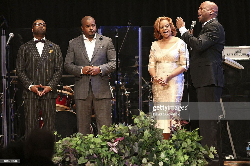 Gospel artist Donnie McClurkin (R) performs with (L to R) VaShawn Mitchell, Jason Nelson, and Karen Clark Sheard at The First Cathedral during a live recording of JJ Hairston & Youthful Praise's seventh album 'I See Victory' on November 4, 2013 in Bloomfield, Connecticut.