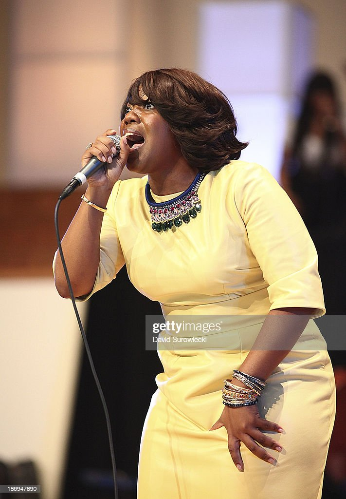 Gospel artist Fondrea Lewis performs at The First Cathedral during a live recording of JJ Hairston & Youthful Praise's seventh album 'I See Victory' on November 4, 2013 in Bloomfield, Connecticut.