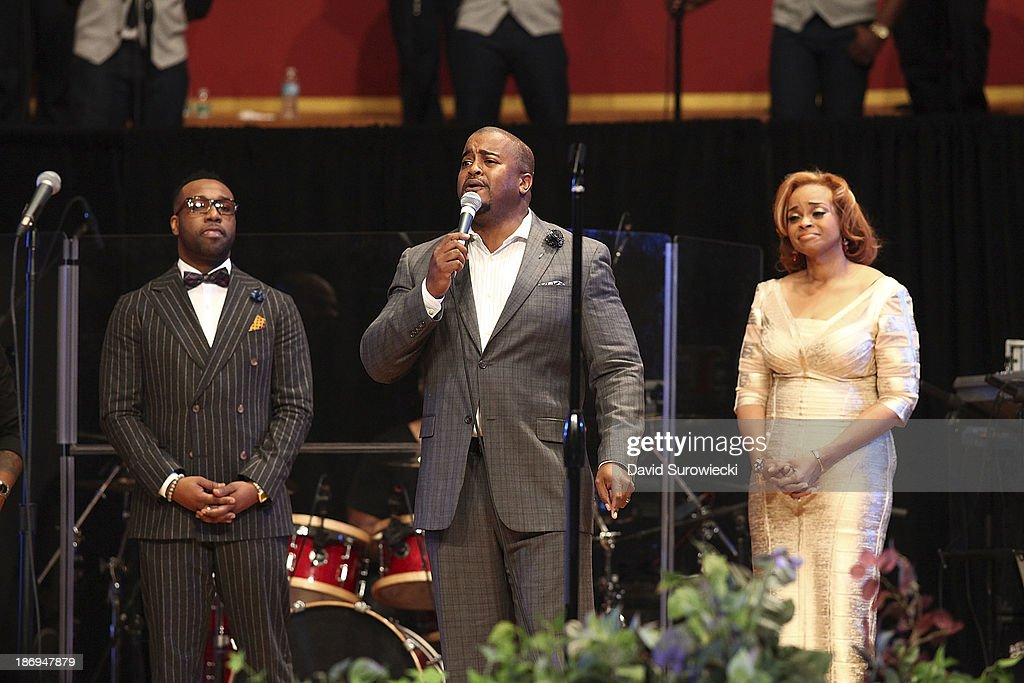 Gospel artist Jason Nelson (C) performs with VaShawn Mitchell (L) and Karen Clark Sheard at The First Cathedral during a live recording of JJ Hairston & Youthful Praise's seventh album 'I See Victory' on November 4, 2013 in Bloomfield, Connecticut.
