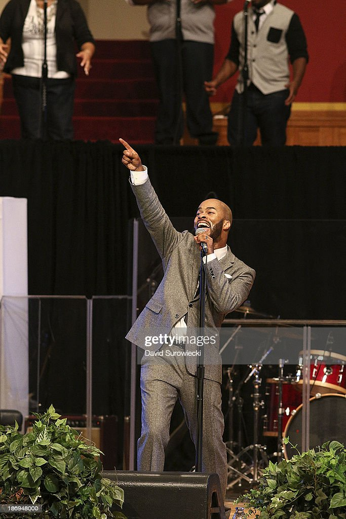 Gospel artist <a gi-track='captionPersonalityLinkClicked' href=/galleries/search?phrase=JJ+Hairston&family=editorial&specificpeople=7106757 ng-click='$event.stopPropagation()'>JJ Hairston</a> performs at The First Cathedral during a live recording of <a gi-track='captionPersonalityLinkClicked' href=/galleries/search?phrase=JJ+Hairston&family=editorial&specificpeople=7106757 ng-click='$event.stopPropagation()'>JJ Hairston</a> & Youthful Praise's seventh album 'I See Victory' on November 4, 2013 in Bloomfield, Connecticut.