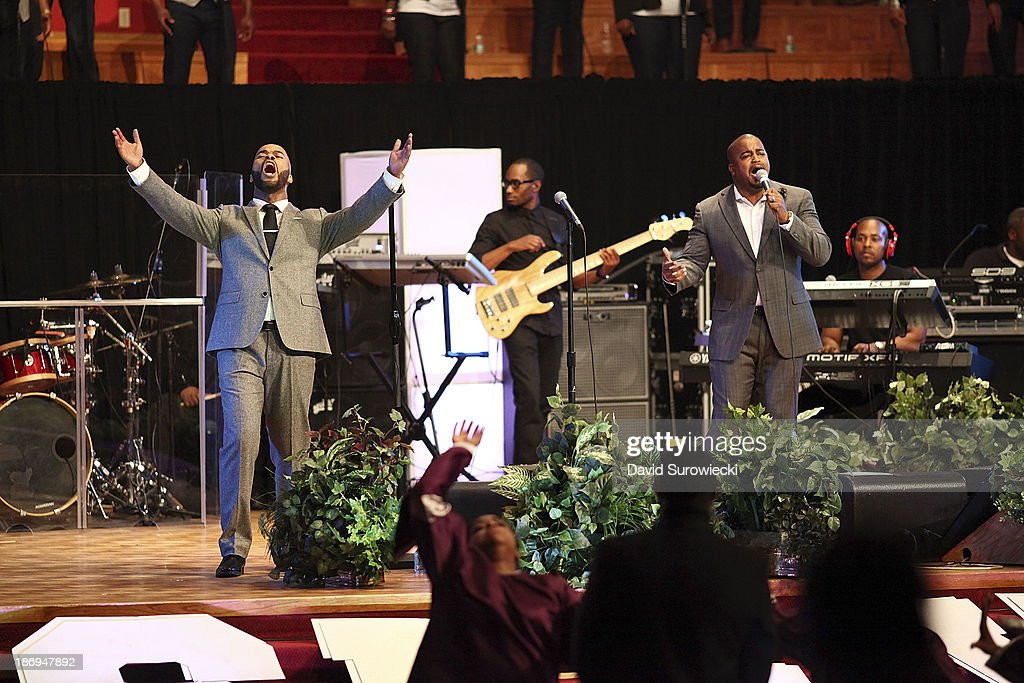 Gospel artist JJ Hairston (L) performs with Jason Nelson (R) at The First Cathedral during a live recording of JJ Hairston & Youthful Praise's seventh album 'I See Victory' on November 4, 2013 in Bloomfield, Connecticut.