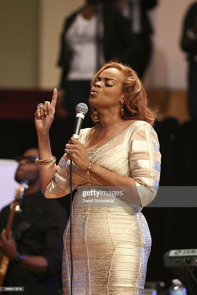 Gospel artist Karen Clark Sheard performs at The First Cathedral during a live recording of JJ Hairston & Youthful Praise's seventh album 'I See Victory' on November 4, 2013 in Bloomfield, Connecticut.