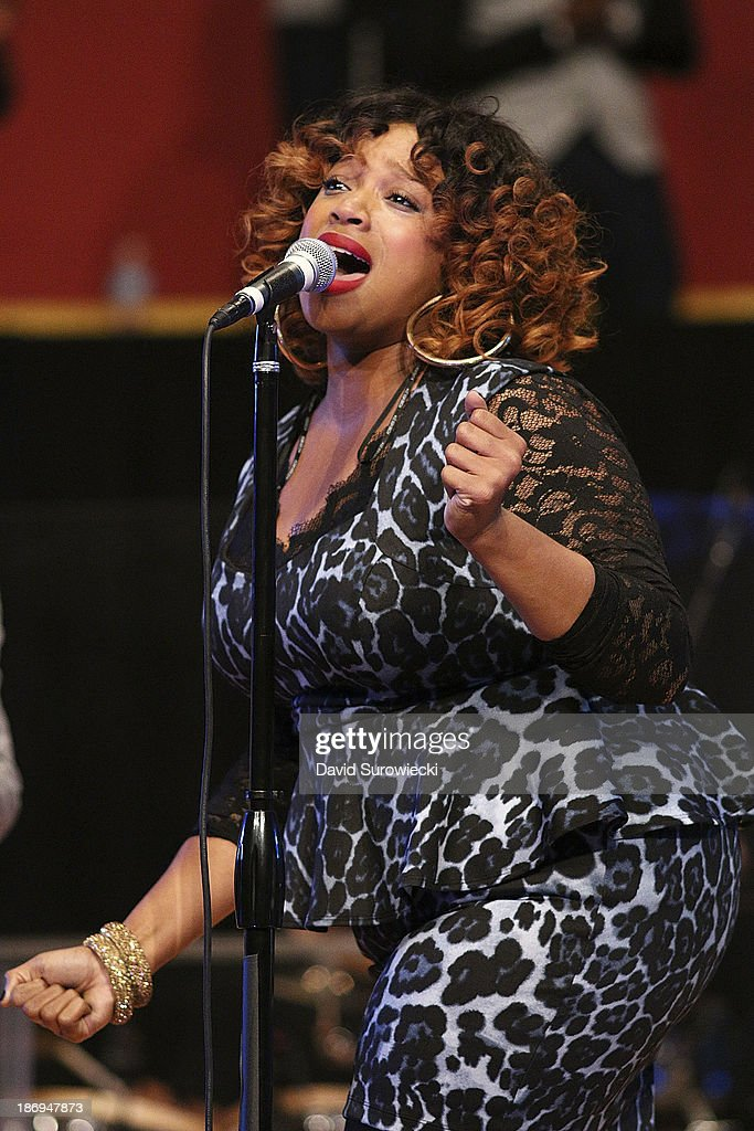 Gospel artist Kierra Sheard performs at The First Cathedral during a live recording of JJ Hairston & Youthful Praise's seventh album 'I See Victory' on November 4, 2013 in Bloomfield, Connecticut.