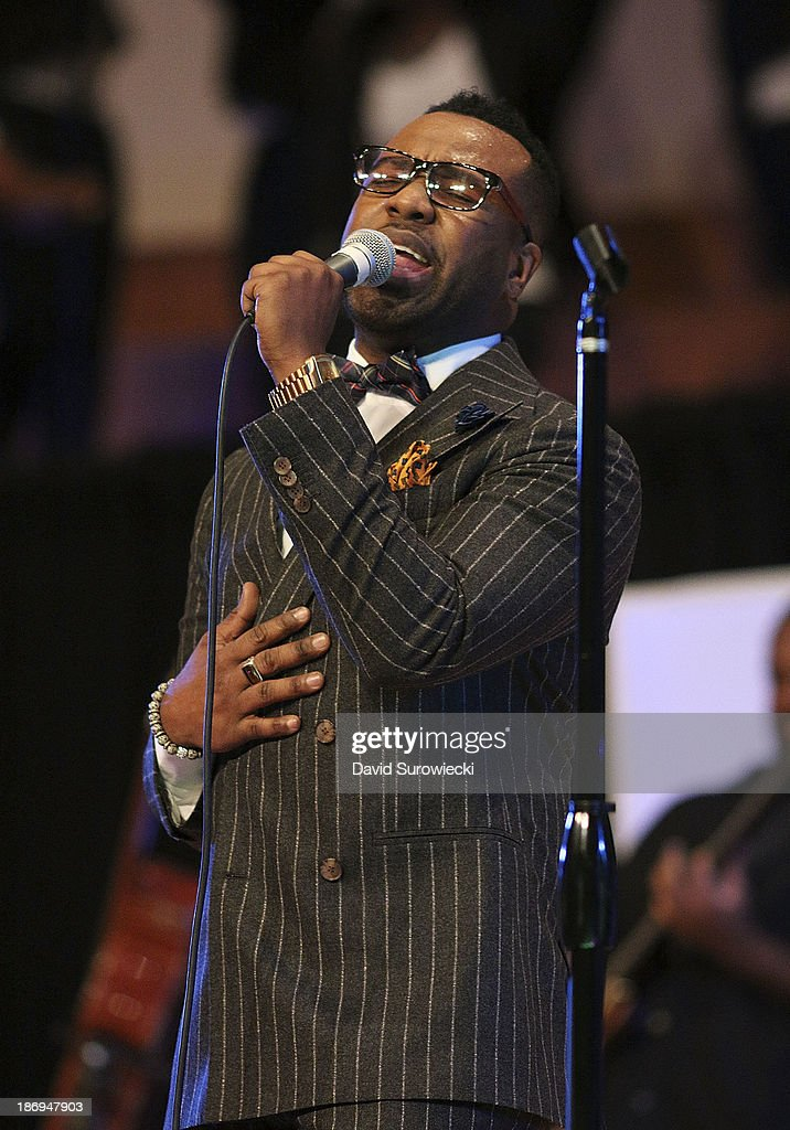 Gospel artist VaShawn Mitchell performs at The First Cathedral during a live recording of JJ Hairston & Youthful Praise's seventh album 'I See Victory' on November 4, 2013 in Bloomfield, Connecticut.