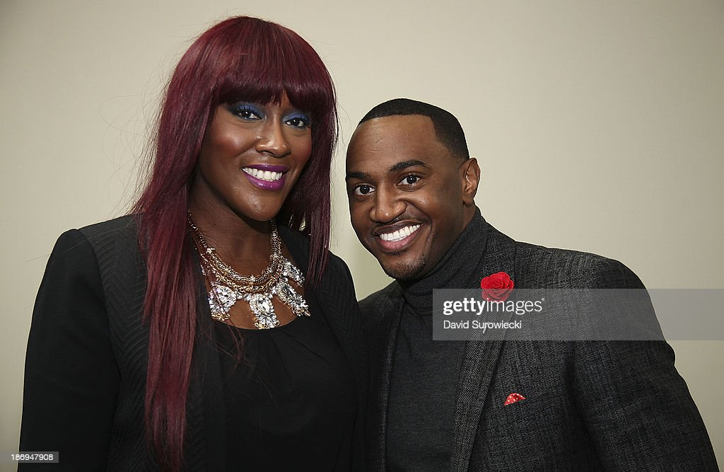 Gospel artists Coko (L) and Jonathan Nelson pose backstage at The First Cathedral following a live recording of JJ Hairston & Youthful Praise's seventh album 'I See Victory' on November 4, 2013 in Bloomfield, Connecticut.