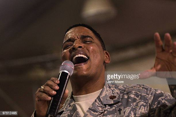 Gospel chaplain Maj Shon Neyland gives a sermon at a gospel service March 7 2010 at Kandahar Air Field in southern Afghanistan Military chaplains...