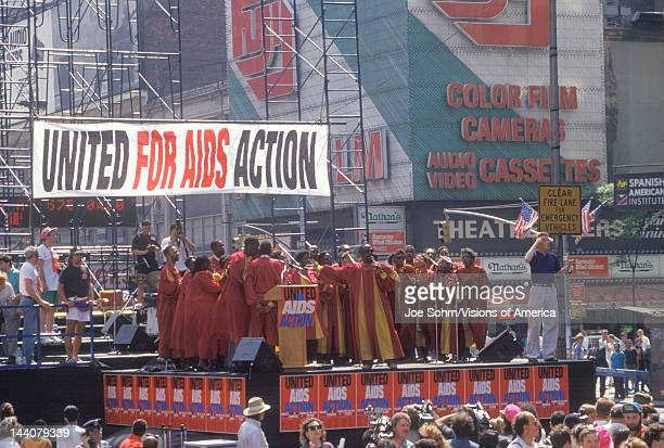 Gospel choir performing at AIDS rally New York City New York