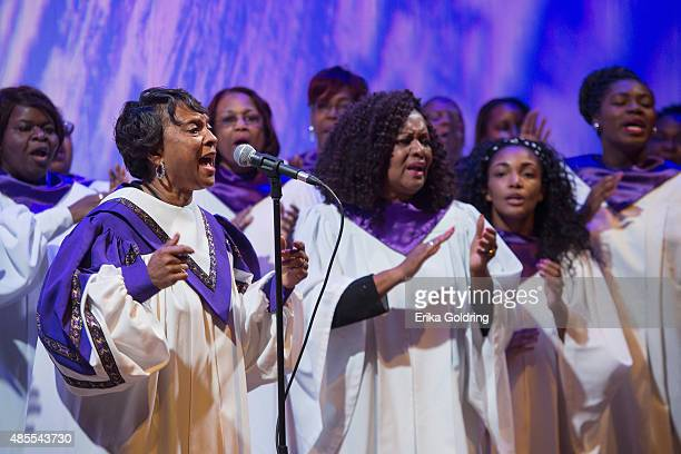 A gospel choir performs at the historic Orpheum Theater on August 27 2015 in New Orleans Louisiana The nearly centuryold Beaux Arts theater severely...