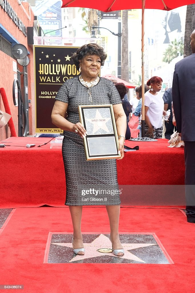 Gospel Recording Artist <a gi-track='captionPersonalityLinkClicked' href=/galleries/search?phrase=Shirley+Caesar&family=editorial&specificpeople=828879 ng-click='$event.stopPropagation()'>Shirley Caesar</a> is honored with a Star On The Hollywood Walk Of Fame on June 28, 2016 in Hollywood, California.