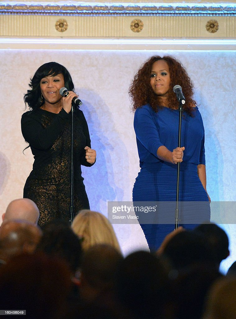 Gospel Recording Artists Mary Mary perform at the 16th Annual Wall Street Project 'Access To Captial' luncheon at The Roosevelt Hotel on January 31, 2013 in New York City.