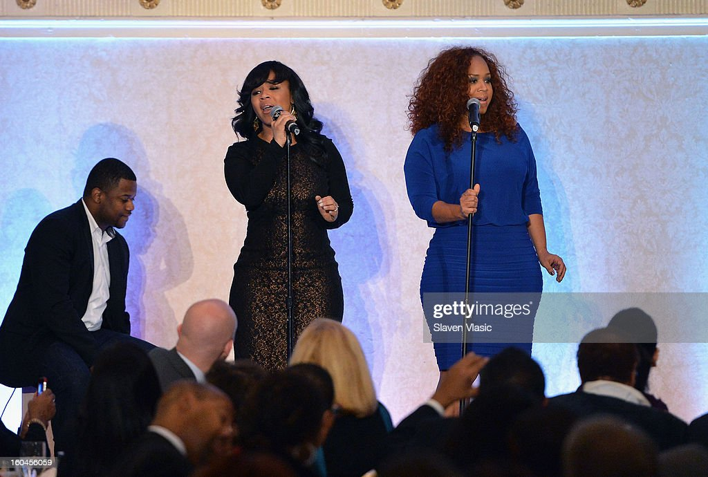 Gospel Recording Artists <a gi-track='captionPersonalityLinkClicked' href=/galleries/search?phrase=Mary+Mary&family=editorial&specificpeople=776944 ng-click='$event.stopPropagation()'>Mary Mary</a> perform at the 16th Annual Wall Street Project 'Access To Captial' luncheon at The Roosevelt Hotel on January 31, 2013 in New York City.