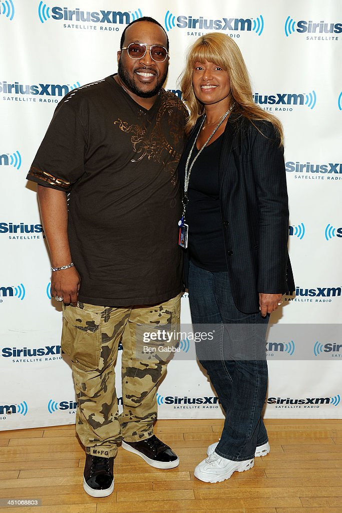 Gospel singer Marvin Sapp (L) and director of talent for SiriusXM Tracey Jordan at SiriusXM Studios on November 21, 2013 in New York City.