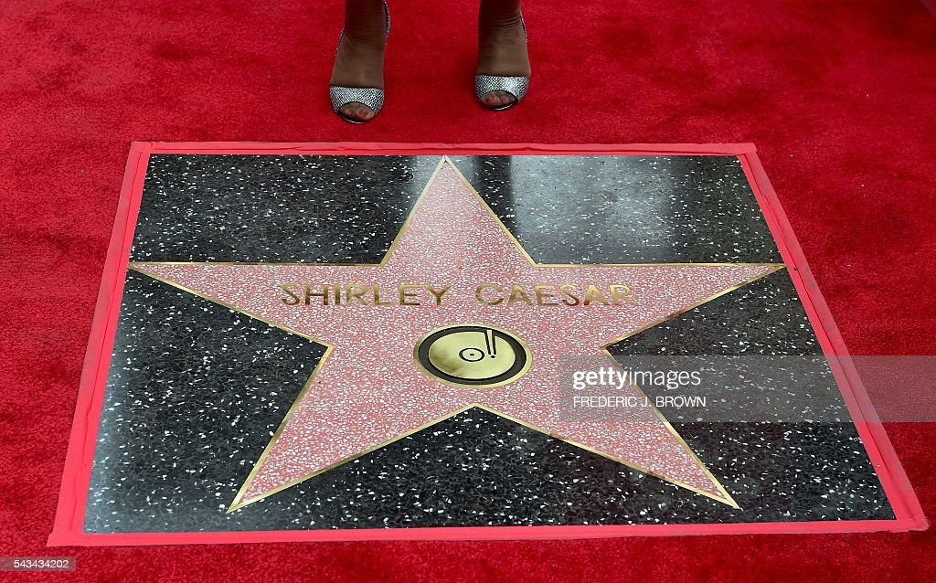 Gospel singer Shirley Caesar's newly unveiled Hollywood Walk of Fame star is seen on June 28, 2016 in Hollywood, California, where she was the recipient of the 2,583rd star in the category of Recording. Ceasar has performed for the late Nelson Mandela and every US President since Jimmy Carter. Ceasar has performed for the late Nelson Mandela and every US President since Jimmy Carter. / AFP / Frederic J. BROWN