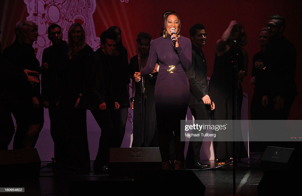 Gospel singer <a gi-track='captionPersonalityLinkClicked' href=/galleries/search?phrase=Yolanda+Adams&family=editorial&specificpeople=206858 ng-click='$event.stopPropagation()'>Yolanda Adams</a> performs live at the 15th Annual GRAMMY Foundation Music Preservation Project's 'Play It Forward: A Celebration Of Music's Evolution And Influencers' at Saban Theatre on February 7, 2013 in Beverly Hills, California.
